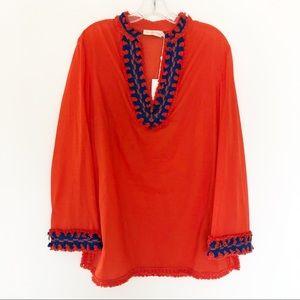 TORY BURCH Samba Orange Red Fringe Cotton Tunic 12